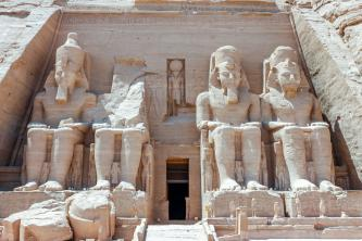 Large statues at the entrance of Abu Simbel Temples, Egypt